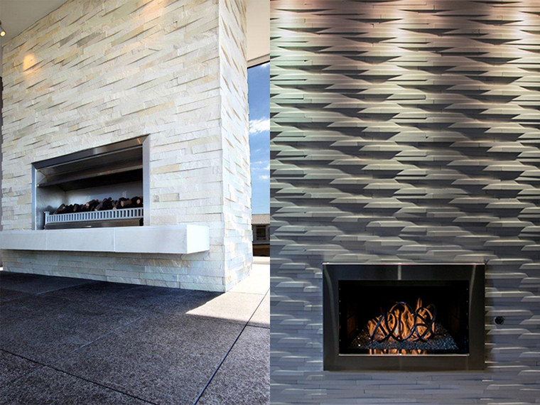 Natural stone cladding for fireplaces and chimney breasts for Tiled chimney breast images